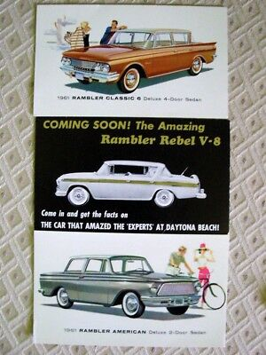 Vintage 1957 1961 AMC Rambler Postcards set of 3