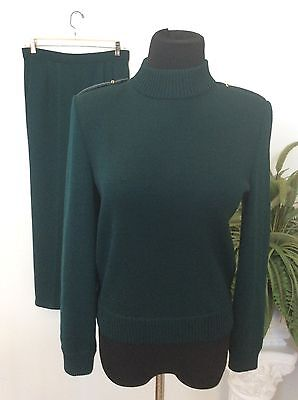 ST.JOHN Collection by Marie Gray Women's Knit Green 2 Piece Pant Suit Size 2 EUC