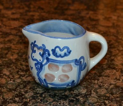 Vtg Handpainted MA Hadley Pottery Large Creamer - Handled - Country Cow