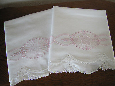 Vintage Pair of Pillowcases Embroidered Crocheted Pink Cherry Blossom & Asters