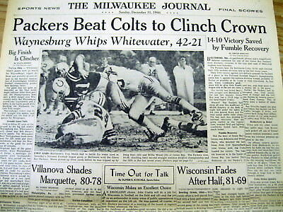 <1966 newspaper GREEN BAY PACKERS def BALTIMORE COLTS NFL West Champs FOOTBALL