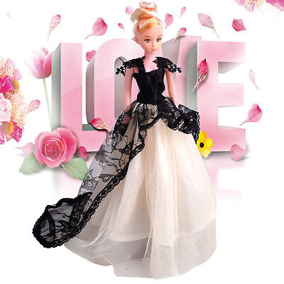 """For 9-11"""" Barbie Doll Royalty Princess Wedding Long Dress Party Gown Outfit Gift"""