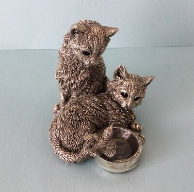 Vintage Country Artists Sterling Silver Pair of Cats at a Bird Bath