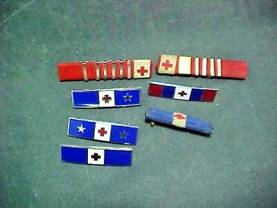 7 WW2 American Red Cross Ribbons and bar Pins.