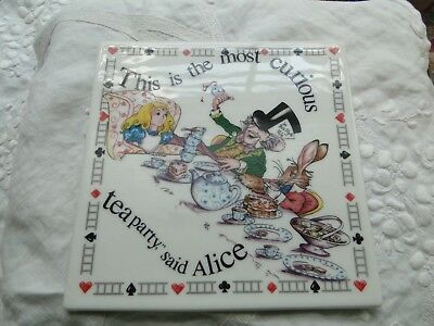 "Paul Cardew Alice in Wonderland 6"" Square Trivet, Hot Plate, Coaster, Exc. Cond."