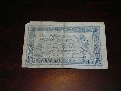 France Army Treasury 50 Centimes Note 1917 P-M1 Circulated JCcug 18650
