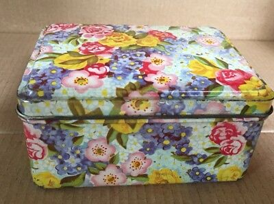 FLORAL Tin With Hinged Lid - GREAT Condition