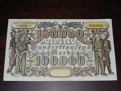 Germany-Karlsruhe 100000 Mark Inflation Note 1923 Lightly Circulated JCcug 18662