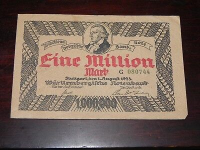 Germany-Wurttemberg 1 Million Mark Inflation Note 1923 P-S987 Circ JCcug 18664