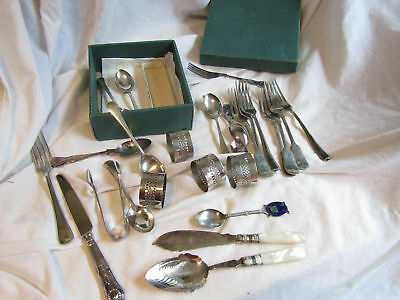 A Box Of Vintage Silver Plated Cutlery And Some Napkin Rings