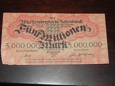 Germany-Wurttemberg 5 Million Mark Inflation Note 1923 P-S988 Circ JCcug 18667
