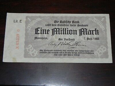 Germany-Baden 1 Million Mark Inflation Note 1923 P-S912 Lit.E Circ JCcug 18670