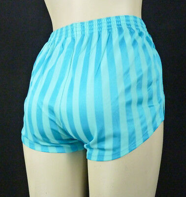 Vintage 80s Shiny Nylon High Waist Shorts XS/S Blue Stripes Running Gym Workout