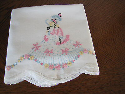 Vintage Single Pillowcase Embroidered & Crocheted Southern Belle Parasol Asters