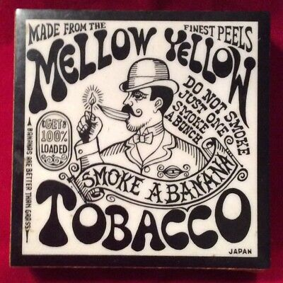 VINTAGE MELLOW YELLOW TOBACCO COLLECTIBLE MATCHES BOX CASE PSYCHEDELIC ART 1960s