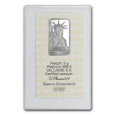 PLATINUM ~5~GRAM PURE 999 ~ STATUE of LIBERTY BAR ~SEALED~CREDIT SUISSE ~$208.88