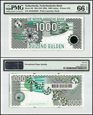 Netherlands 1,000 - 1000 Gulden, 1994, P-102,Geometric Design, SN # 0303, PMG 66