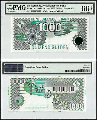 Netherlands 1,000 - 1000 Gulden, 1994, P-102,Geometric Design, SN # 6223, PMG 66