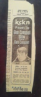 Glen Campbell Show, Newspaper Ad, 3/2/1969, KCKN, Kansas City
