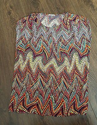 Ladies size xl top fee red geometric pattern top size approx 18 uk plus size