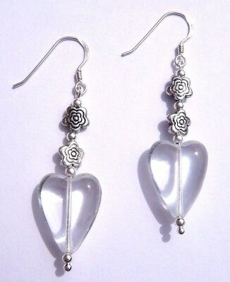 Sterling Silver Art Nouveau Style CLEAR GLASS HEART FLOWER Hook Earrings and Box