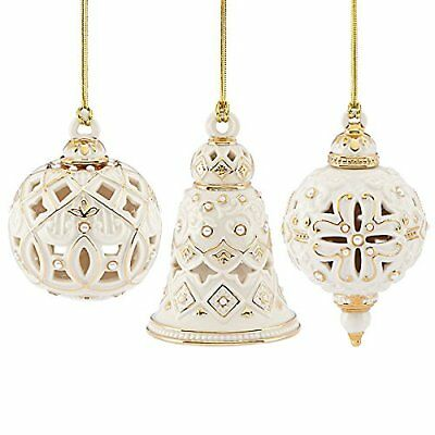 New Lenox Florentine & Pearl Christmas Ornaments Spire Bell Ball Set of 3