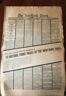 15 Historic Front Pages of the New York Times, 1865-1962; Price Reduced
