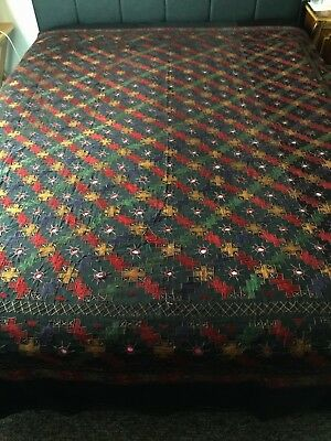 ViNTAGE 1920's EMBROIDERED BEDSPREAD Mirrors BOHEMIAN Arts & Crafts HIPPIE India