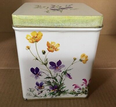 Beautiful FLORAL Tin with Hinged Lid - Made In England- Mint Condition
