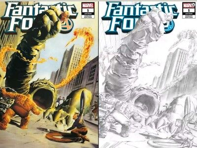 Fantastic Four 1 Alex Ross Exclusive 1961 Color & B&w Homage 2 Pack Variant Set