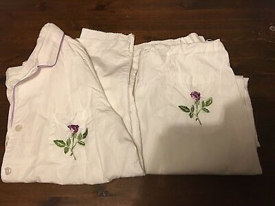 Ladies Vintage Pyjamas By Laura Ashley Size Large Approx 14-16 White Cotton