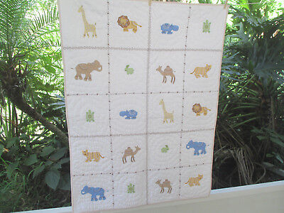 Whistle and Wink Baby Quilt Animals Applique Boys 37x50