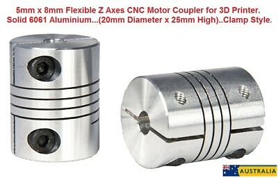 Motor Coupler for 3D printer,CNC,Clamp Style 5mm x 8mm Flexible, 2 Pack AU Stock