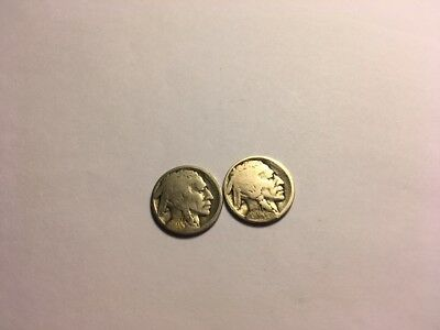 Key Date restored pair of antique Buffalo nickels 1914-D 1914-S 5C Coins RARE !