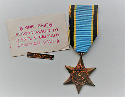 British WWII Air Crew Europe Star w/ France and Germany Bar
