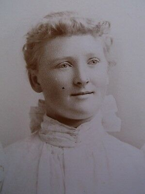 Cabinet Card Pretty Young Woman Whiter Dress Large Bow Fall River MA