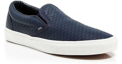 f6a5fcfe119 NIB new VANS navy blue diamond perf leather slip on balance sneaker shoes  3.5 5
