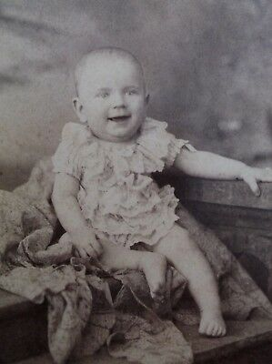 Cabinet Card Smiling Baby Sitting on Steps  Barefoot Ruffles Memphis TN