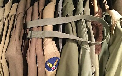 """WW2 1950's US Military Army 1"""" x 28"""" Canvas Web Gear Strap Assembly Metal Buckle"""