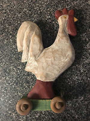 Vintage Folk Art Wooden Rooster on wheels - Hand Carved