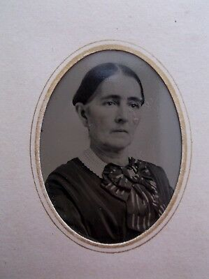 Tintype Lovely Woman Large Striped Bow Paper Frame