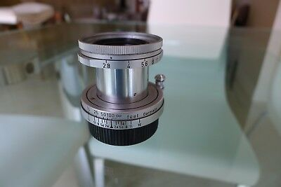 "Leica 50mm f2.8 Elmar Lens. screw mount. ""M"" mount adapter included in sale"