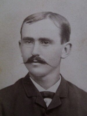 CDV Handsome Young Man Great Mustache Waxed Ends ? Palmer MA