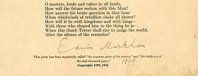 Edwin Markham Autographed Poem * The Man With The Hoe * 1929