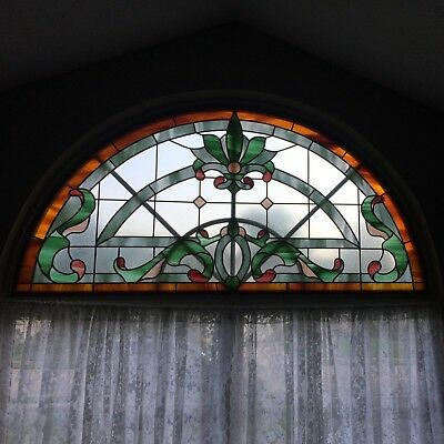 Custom Stained Glass for 70 by 36 Opening Arched Half Circle Window