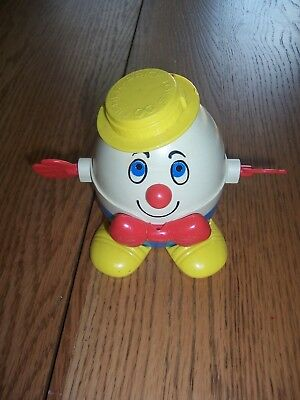 Vintage 1970 Fisher Price Humpty Dumpty #736 Pull Toy With Spinning Hands