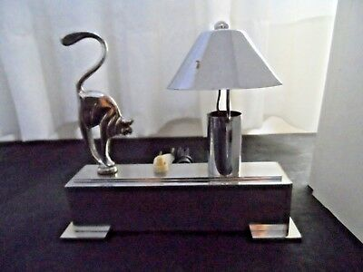 Vintage Art Deco Cat Lamp Table Chrome Nigth Stand