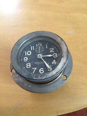 1900's Detroit Phinney Walker Rim Wind Car Or Boat Clock  8 Day ( For Parts ?)