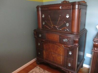 Gorgeous Antique Inlay 3 Piece Bedroom Set...unique And Very Pretty!