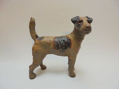 Vintage ANTIQUE HUBLEY Cast Iron WIRE HAIR Airedale FOX TERRIER Dog Door Stop